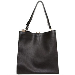 MARNI minimalist black pebbled leather & suede tote laptop bag NEW
