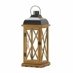 Hayloft Large Wooden Candle Lantern Wooden Framwork & Metal Top Stands New