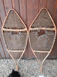 Vintage Snowshoes Great Set of Wall Hangers 41quot; Long Hand My By Huron Indians $79.95