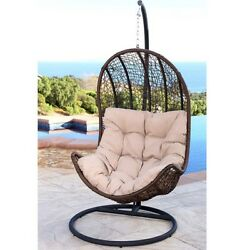 Swing Chair Egg Shaped Abbyson Outdoor Patio Wicker Furniture Espresso Hanging