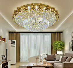 LED Remote Control K9 Crystal Gold Ceiling Light Chandeliers Lighting Lamps