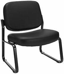 Lot Of 10 OFM Big and Tall Vinyl Armless Guest  Reception Chair Black