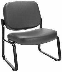Lot Of 10 OFM Big and Tall Vinyl Armless Guest  Reception Chair Charcoal