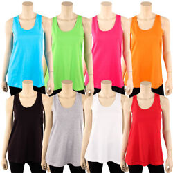 Womens Loose Fit Tank Top 100% Cotton Relaxed Flowy Basic Sleeveless Shirt S M L $7.45