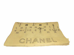 Authentic Chanel Cashmere Scarf CC Ivory Gray Shawl Women's Accessories