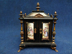 19TH C AUSTRIAN VIENNA VIENNESE ENAMEL EBONIZED AND ENAMELED JEWELRY BOX
