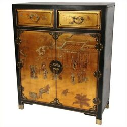 Oriental Furniture Accent Chest in Gold 1-2 drawers Cabinet hand painted