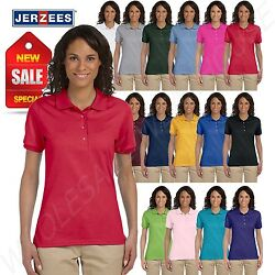 Jerzees Women Polo Shirt Short Sleeve SpotShield Solid M 437W $12.95
