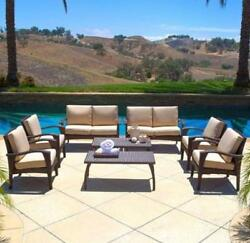 Patio Seating Set w Cushion 8pc Outdoor Sofa Garden Chairs Deck Table Furniture