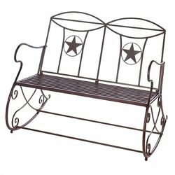 Outdoor Rocking Bench Lone Star Western Theme Cast Iron Garden Home Accent New