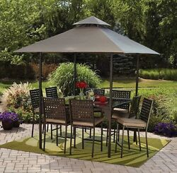 Patio Dining Set with Canopy 10-Piece Outdoor Sets Counter-Height Table Seats 8