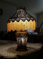 Antique Art Deco Table Lamp Persian Victorian Metalwork Copper Brass Pierced 30