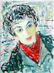 Dimitrie Berea Girl with the Red Scarf Oil Painting