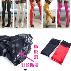 Sexy Female Patent Leather Elastic Lace Long Stockings Party Tight Socks Hosiery