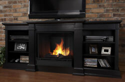 Small Entertainment Center Real Flame Fireplace Black Heater Stand Wood Firebox