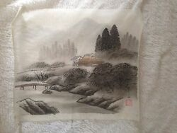 Vintage Chinese Painting On Silk Asian House on Stream Unframed 17