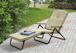 Folding Chaise Lounger Outdoor Furniture Padded Lounge Patio Pool Deck Chair NEW