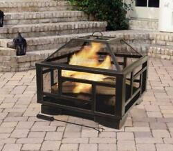 Modern Outdoor Firepit Large Garden Portable Fireplace Heater Patio BBQ Barbeque