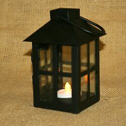 Small Black Metal Lantern Door Opens w Battery Operated Tea Light Candle