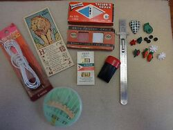 VINTAGE SEWING NOTION SUPPLY LOT BUTTONS RULER NEEDLES TAILOR'S CHALK CORD