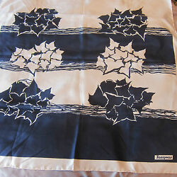 Vintage Jacqmar Silk Scarf Navy Blue and White