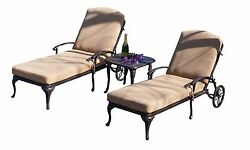 Outdoor Patio Furniture 3-PC Balmoral Cast Aluminum Chaise Lounge Set wCushions