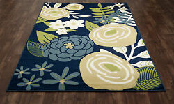 Art Carpet Seaport Seaside Boquet Blue IndoorOutdoor Area Rug