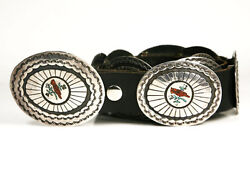 Navajo Coral and Turquoise Chip Inlay and Silver Concho Belt