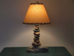 Rustic Stone Lamp Cabin Lodge Hand Crafted Log Home Southwestern Decor Country