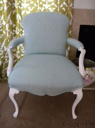 Vintage Beach Cottage Arm Chair ~ Aqua Quilt ~ French Country Frame