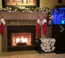 Outdoor Indoor Log Bin Storage for Fireplace Rack Holder with Scrolls Home