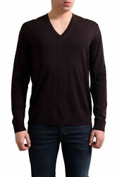 Prada Men's Burgundy 100% Virgin Wool V-Neck Sweater US L IT 52