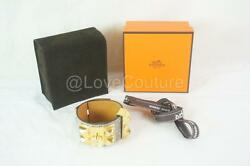 HERMES CDC Bracelet Lizard Leather Collier Chien Natural Ombre Gold S NEW