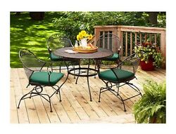 5-Piece Patio Dining Set For Outdoor Comfy Seat Cushions Durable Furniture Green