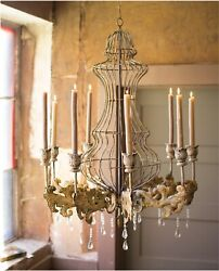 Huge Big Candle Rustic Tin Chandelier w Crystals Home Movie Prop Old Finish