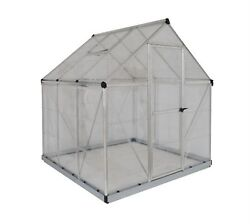Harmony 6 ft. x 6 ft. Polycarbonate Greenhouse in Silver Home Garden Outdoor