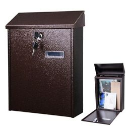 Steel Locking Mailbox Mail Box Wall Mount Newspaper Letterbox w Door amp; 2 Keys $29.90