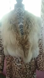 Full length plush Leopard Coat real shadow fox collar spotted fur print Vintage