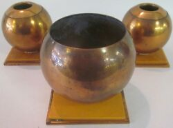 Vintage Art Deco Chase Copper Console Candle Holder 3pc Set w Bakelite Base