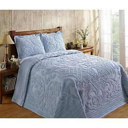 ASHTON HEAVYWEIGHT CHENILLE BEDSPREAD AND PILLOW SHAM COMPLETE SET ALL COTTON