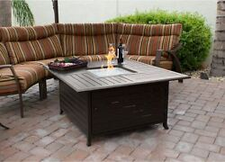 Patio Fire Pit Table Outdoor Gas Fireplace Propane Heater with Cover Furniture