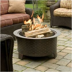 Fire Pit Outdoor Wood Burning Heavy Duty & Attractive Bronze Cast Iron Finish