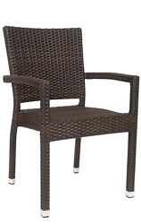 Lot of 32 Aluminum Restaurant Outdoor Patio Synthetic Wicker Chair