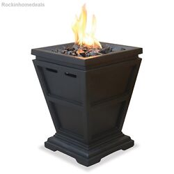 Small Fire Pit Uniflame LP Gas Column Backyard Pathway Feature Patio Garden NEW