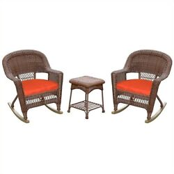 Jeco 3pc Wicker Rocker Chair Set in Honey with Red Cushion Outdoor Rocking
