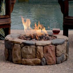 50000 BTU Propane Gas Fire Pit Stone Gas Logs Fuel Home Heater Outdoor Fireplace