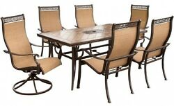 Hanover Monaco 7 Piece High Back Sling Outdoor Dining Set Patio Deck Furniture