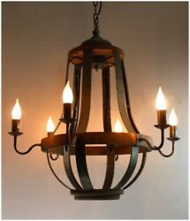 Iron Strap and Aged Wood Chandelier French Country Vintage Style $522.50