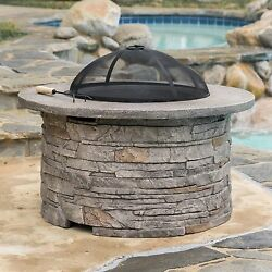 Stone Fire Pit Round Concrete Natural Wood Burning Outdoor Fiber Glass Firepit