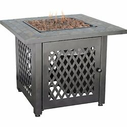 Propane Fire Pit Table Slate Mosaic Fireplace Outdoor with Cover Firebowl